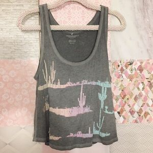 American Eagle | Gray Cactus Flowy Swing Tank Top